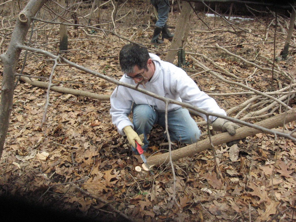 Scott Umlauf, Darby Creek Watershed Resident, hard at work restoring his part of the watershed