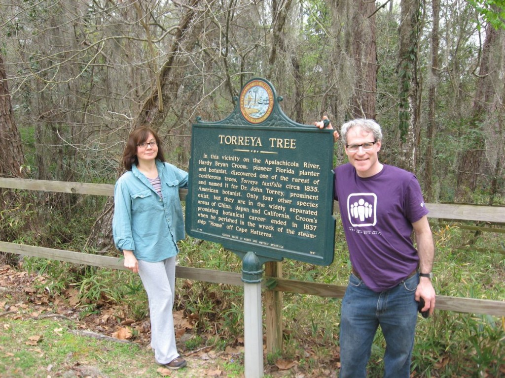 Isabelle Dijols and Sean Solomon visit the Torreya tree, Torreya State Park, near Bristol Florida in the central panhandle