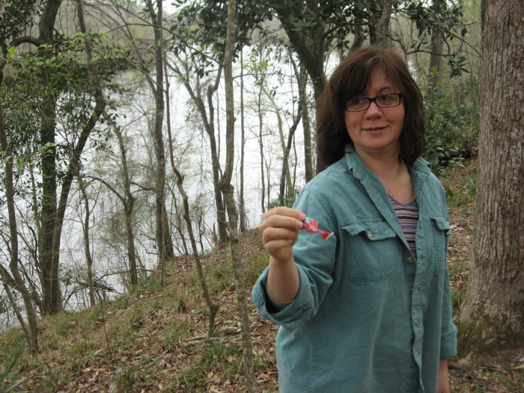 Isabelle removes trash from the ground where it sat amidst Trillium underwoodii.  Apalachicola River in backround along with Southern Magnolia