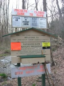 Trailhead at River Road, Tucquan Glen Nature Preserve, Lancaster County, Pennsylvania
