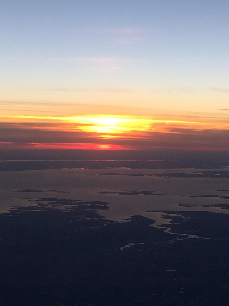 Sunset over the Chesapeake Bay from a commercial jet